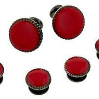 Retro darkened silver plated cufflinks and shirt stud formal set with red enamel. Presentation boxed. Made in the USA