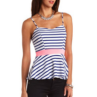 Textured Striped Peplum Top by Charlotte Russe - Navy Blue Cmb