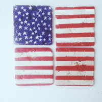 Ameridan Flag Coaster Set -  Red White & Blue Decor- Patriotic accessories