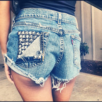 Vintage High Waisted  Studded Shorts by UrbanEclectics on Etsy