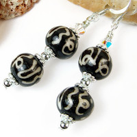 Om Symbol Mantra Earrings, Tibetan Bone Beads, Crystals, Sterling Silver, Handmade