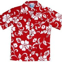 Classic Hibiscus Boy's Hawaiian Aloha Cotton Shirt