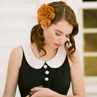 golden dahlia indie hair clip by Petit Plume - $15.99 : ShopRuche.com, Vintage Inspired Clothing, Affordable Clothes, Eco friendly Fashion