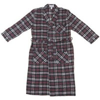 Red and Black Plaid Flannel Bath Robe for Men