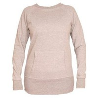Heather Gray Crew Neck Fleece Sweatshirt, longer tunic length, kangaroo pocket