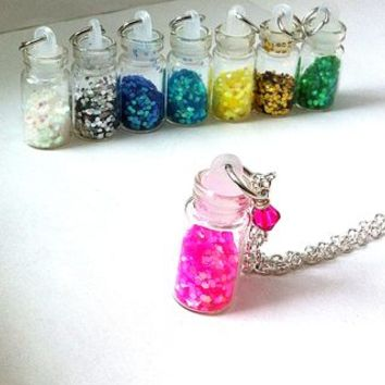 glitter filled mini glass vial necklace, pink necklace, glitter