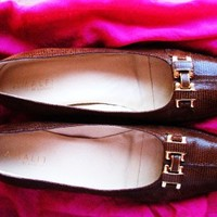AMALFI SHOES MOSS RUSTY BROWN LEATHER FLAT LOAFERS ! S 8.5N/39 MADE IN ITALY !