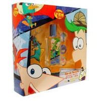 Disney Phineas and Ferb Gift Set with Eau De Toilette Spray 1.7 oz, Key Ring and 3 Pins for Kids