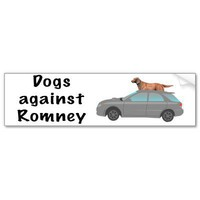 Dogs against Romney Bumper Sticker from Zazzle.com