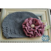 Gorgeous Violet Chiffon Flower with Pearl and Rhinestone Center on Soft, Stretchy Grey Beanie Hat. Fits Baby up to 4 Years...