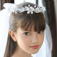 Angels Garment Girls White First Communion Crystal Faux Pearl Veil