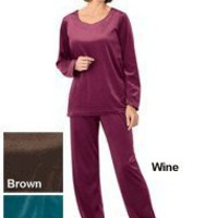 Sweetheart-Neck Velour Pant Set - Misses Sizes