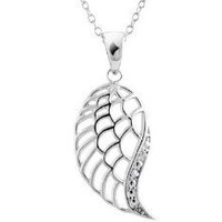 Feather Wing Pendant with Diamond Accent in Sterling Silver with Chain