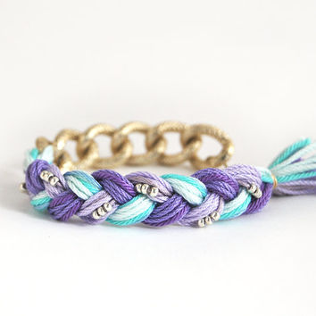 Purple and mint bracelet with chunky chain, boho bracelet, braid bracelet, chunky chain bracelet