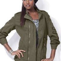 Denim 24/7 Plus Size Jordan Military Zipper Jacket