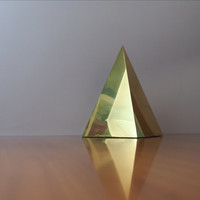 Midcentury Modern Brass Pyramid Sculpture LARGE // Vintage Home Decor Hollywood Regency