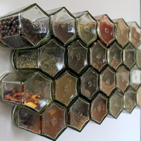 Honeycomb magnetic glass jar storage set- 24 empty hexagonal bottles and labels- spice rack, craft storage- FRIDGE SET- Foodie, Hostess gift