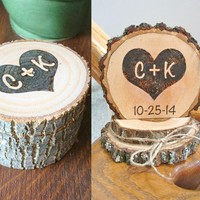 Rustic Wedding Cake Topper Ring Box Set Personalized Ring Holder Wood Combo Country Wedding