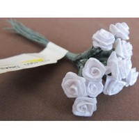 Craft Fabric Flowers: Bunch 12 Wired White Rose Flowers