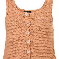 Knitted Peach Crochet Trim Crop Vest - Knitwear - Clothing - Topshop USA