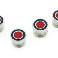 Blue and red enamel set of 4 shirt studs with presentation box. Made in the USA