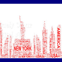 New York Skyline Shaped Word Art  Instant Download.  Printable Art Gift. PDF, Inspiring Wall Art. Home Decor, Unique gift