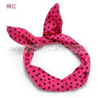 Ruby Polka Dots Bunny Ear Head Wrap - Hair Accessories