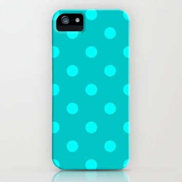 Misty Teal Polka Dot iPhone & iPod Case by KCavender Designs