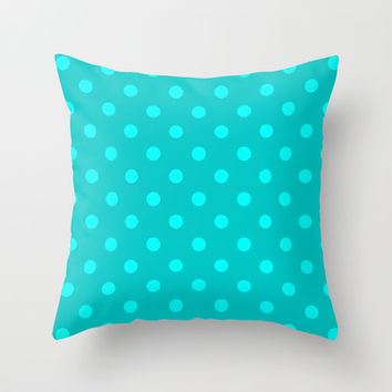 Misty Teal Polka Dot Throw Pillow by KCavender Designs
