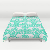Elephant Damask Mint Duvet Cover by Jacqueline Maldonado | Society6