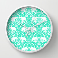 Elephant Damask Mint Wall Clock by Jacqueline Maldonado | Society6