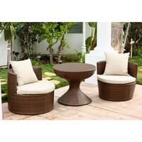Abbyson Living Palermo Outdoor Brown Wicker 3-piece Chair Set