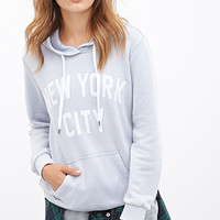 FOREVER 21 New York Graphic Hoodie Blue/White