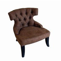 Microfiber Club Chair In Dark Brown, Living Room Furniture, Designer Club Chair: Nyfurnitureoutlets.com