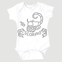 Scorpio Zodiac Onesuit | October 23-November 21 | Horoscope | Newborn Baby Clothes | Unique | 0003