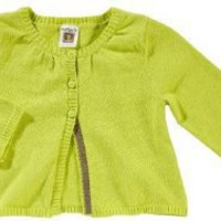 Carter's 100% Cotton Sweater Knit Long Sleeve Baby Cardigan - Green with Gray Trim - 6 Months