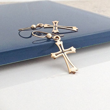 Gold Cross Earring, Small Cross, Simple Cross, Small Gold Earring, Christian Jewelry, Cutout, Christian Gifts for Women, Cross Dangle, 550