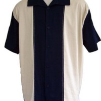 Mens Retro Classic Bowling Shirt Panel L XL XXL 3XL