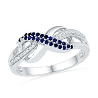 Lab-Created Blue Sapphire and Diamond Accent Infinity Loop Ring in Sterling Silver