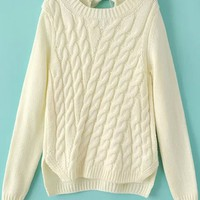 Elegant Back-Tie Cable Sweater