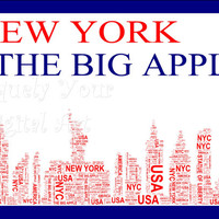 New York The Big Apple Shaped Word Art  Instant Download.  Printable Art Gift. PDF, Inspiring Wall Art. Home Decor, Unique gift