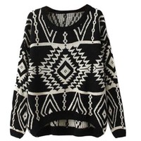 Womdee Women Long Sleeve Geometric Knit Sweater Loose Outerwear (M,Beige)