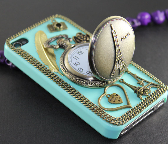 Eiffel Tower Pocket Watch love heart golden by BeautyandLuck