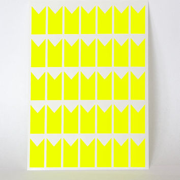 70 yellow neon sticker #banner geometric #flag sticker, paper flag label, letter envelope seal, self adhesive bag seal gift packaging 1 inch