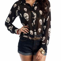 skull button-up blouse &amp;#36;36.30 in BLACKCREAM CREAMBLACK - New Tops | GoJane.com