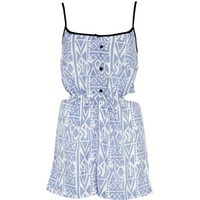 blue aztec print playsuit - cover-ups - swimwear / beachwear - women - River Island