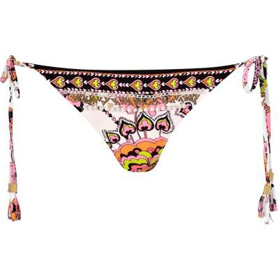 black print pacha embellished bikini briefs - pacha - swimwear / beachwear - women - River Island