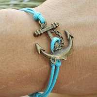 BraceletAnchor braceletvintage anchor bracelet Blue by luckyvicky