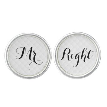Simple Script Mr. Right Wedding Cufflinks