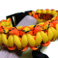 Paracord Survival Bracelet Yellow Orange Black Cobra Weave S to XL Handmade USA Side Release Buckle with Whistle